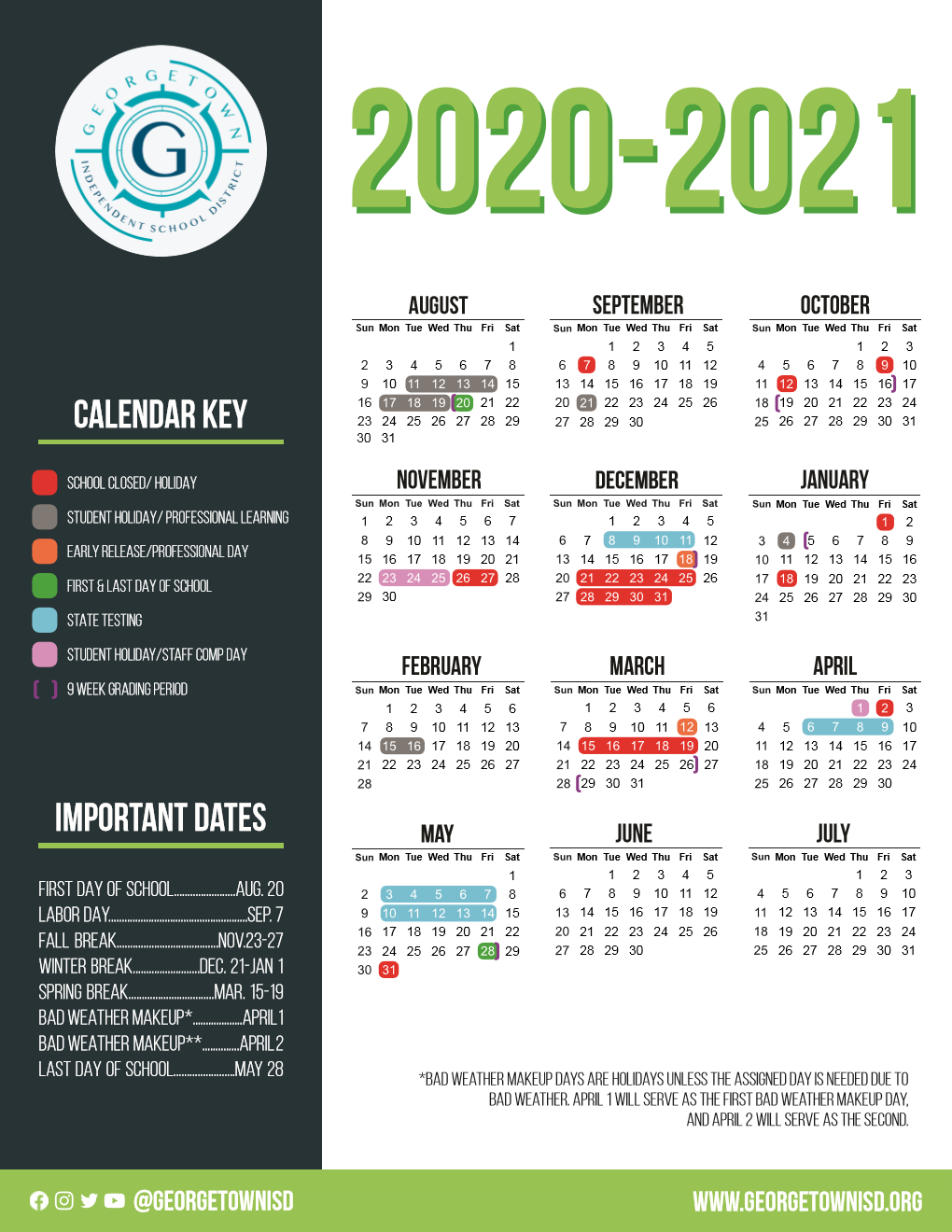 Gisd Calendar 2022 23.G E O R G E T O W N I S D C A L E N D A R 2 0 2 0 2 0 2 1 Zonealarm Results